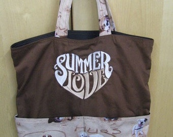Summer Love Beach Dog Resuable Bag, Tote Bag, Shopping Bag, Purse