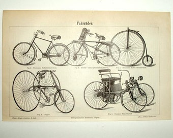 1895 ANTIQUE BICYCLE print, lithograph,tricycle,Daimler motorized vehicle,vg condition,ivory,black, Europe