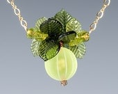 Gooseberry Necklace w green gooseberry glass sculpture and leaves on gold filled chain  Realistic glass lampwork beads, fruit jewelry.