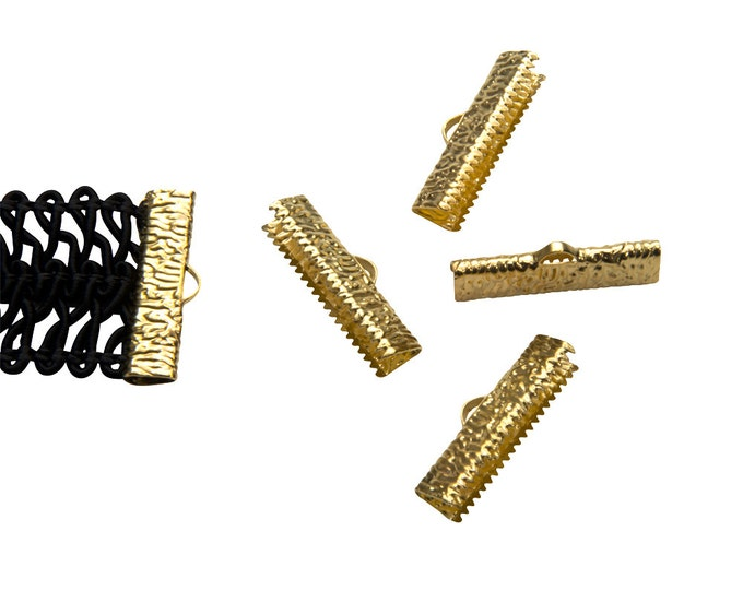 16pcs.  25mm ( 1 inch ) Gold Ribbon Clamp End Crimps - Artisan Series