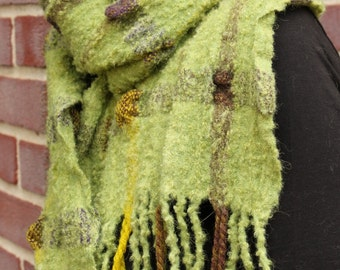 Handwoven and Felted Alpaca and Wool Scarf