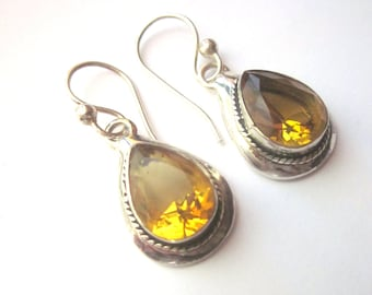 Sterling Silver Vintage Dangle Earrings with Yellow Crystals 925
