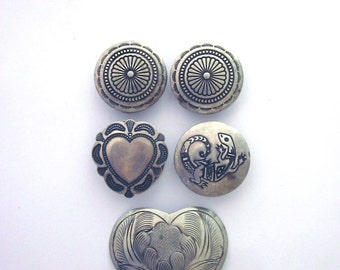 Silver Button Covers Heart Button Cover Lizard Native American Mixed Lot Buttons