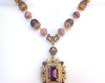 SALE Crystal Assemblage Necklace with Pearls Wedding Jewelry Purple Rhinestones