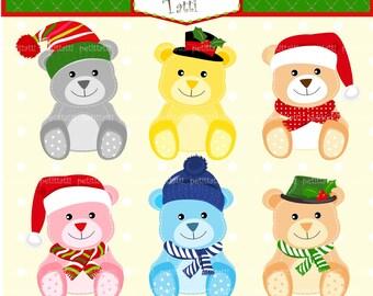 ON SALE Christmas Teddy Bear Clip Art, Teddy Bears Clip Art,teddy bear with Santa hat, toddlers christmas clip art, scrapbooking
