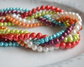 For Dreanna Freshwater pearl braided multistrand necklace, freshwater pearl jewelry, twisted pearl necklace, multi colored pearl jewelry