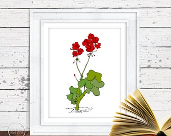 Scarlet Geranium Garden Sketch Art - 8x10 Instant Download