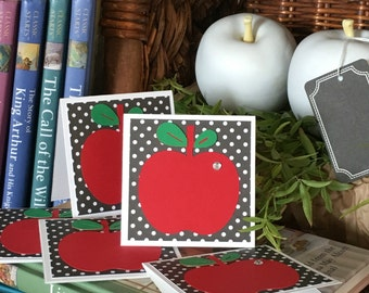 Back to School Apple Mini Note Cards - Set of 5 - with Envelopes - Teacher Appreciation Gift - Apple Mini Note Card Gift Set