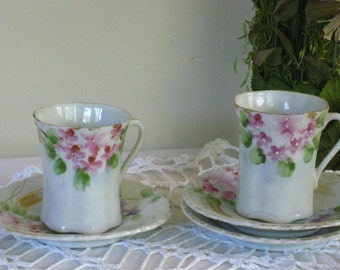 Antique Nippon Chocolate Cups Saucers Set of Two, Vintage Hand Painted Pink and Purple Floral Teacups, Delicate Bone China, Porcelain Shabby