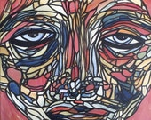 Mosaic Wall Art Abstract Face Painting by Julie Steiner