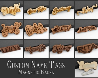 Custom Name Tag ID Badge with Magnetic or Pin Back Laser Engraved & Cut from Birch Alder or Walnut Wood Personalize Choose Your Font!