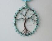 Seafoam tree pendant, aqua tree pendant, tree of life pendant, wire tree pendant, tree necklace, leafy tree necklace, wire tree of life