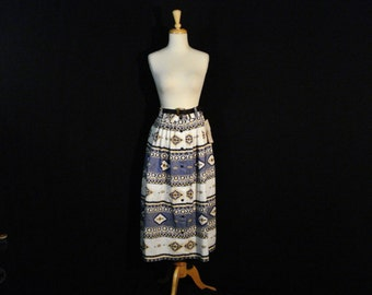 Country Western Skirt Geometric Button Up Cotton Mid Calf Skirt Blue White Yellow ML