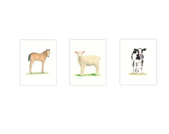 "FARM ANIMAL PRINTS  8 x 10"" Set of 3 Farm Nursery Art  Farm Animal Nursery Prints Cow, Horse lamb Old McDonald Animal Nursery, Beautiful Art"