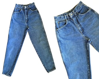 Vintage 80s Jeans / High Waisted Jeans GITANO Distressed Faded Vintage Denim Blue Jeans / 1980s Mom Jeans / Taper High Waist Jeans 25 Waist