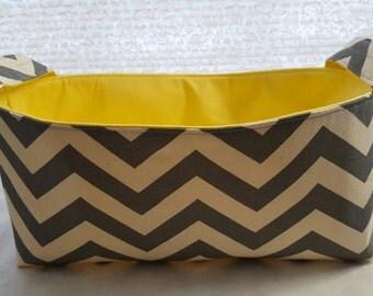 Long Diaper Caddy Storage Container Basket Fabric Organizer Bin - Nursery Decor - Chevron Gray Zig Zag