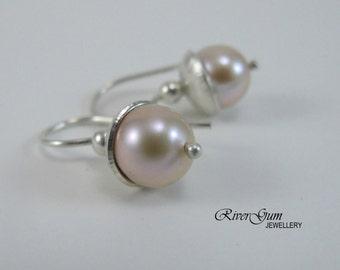 Peach Freshwater Pearl Earrings, Argentium Silver Earwires, Fabricated, Metalwork by RiverGum Jewellery