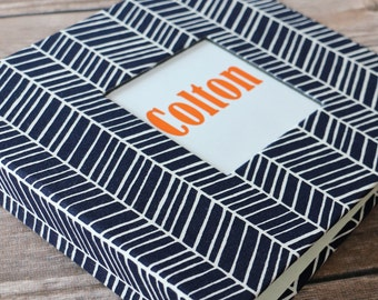 PRE-ORDER // Baby Book, Baby Gift, Baby Album, Baby Memory Book, Baby Keepsake, Modern Baby Book, Navy Herringbone Album