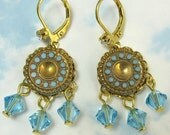 30% OFF Blue Gold Chandelier Earrings Turquoise Vintage Glass