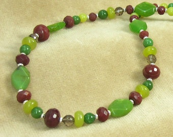 Genuine Green and Red Jade with Quartz Beaded Gemstone Necklace Style 2