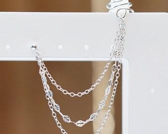Sterling Silver Triple Chain Cuff Earring