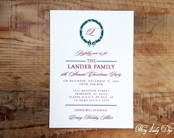 25 Christmas Party Invitations - Elegant Christmas Wreath & Monogram - By My Lady Dye