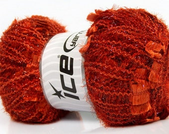 ANGELO ice yarns orange metallic sparkly shimmering  7mm US 10 polyamide bulky chunky  100gr 41301