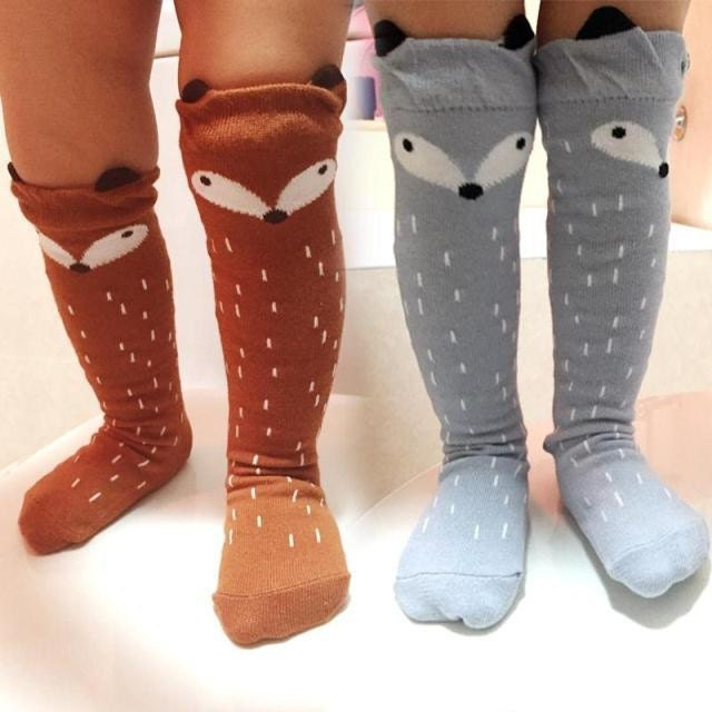 knee high fox socks 1 TO 3T TODDLER boys girls uni by