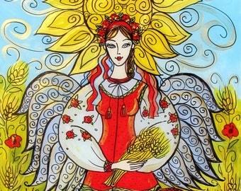 Original Glass Painting, Ukrainian Angel