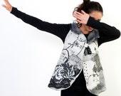 Reserved for Vesa Outstanding Wearable Art Women Garment XS - Felted Merino Wool Vest - Black White Paris Design - Reversible Women Vest