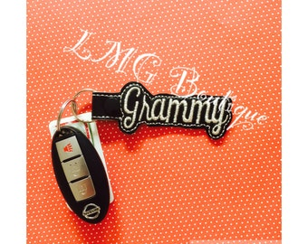 Grammy Key chain, Fob Embroidered Snap Tab, Grammy Key Fob, Embroidere Snap Tab, Mothers Day gift