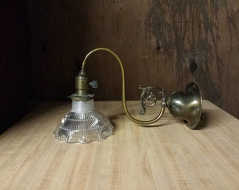 Victorian Wall Sconce with Optical Glass Shade, Steampunk Wall Sconce, Antique Sconce