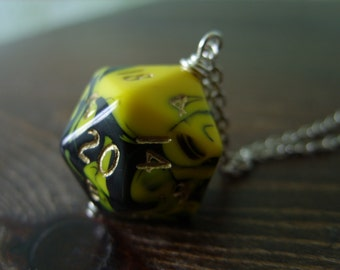D20 dice necklace dungeons and dragons pendant dice pendant D20 pendant dice jewelry dice necklace yellow black dice geekery pathfinder
