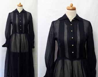 1950s Vintage Sheer Organdy Dress / Midnight Blue Shirtwaist Dress with Seed Pearl Trim
