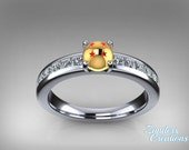 Powerball diamond engagement ring in 14k yellow and sterling silver