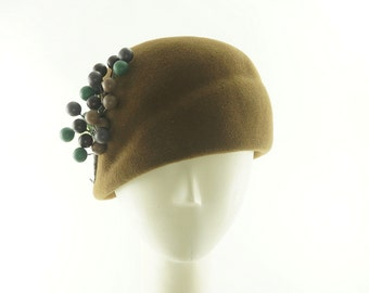 Golden Brown CLOCHE HAT for Women / Vintage Style TURBAN Style Hat / Handmade by Marcia Lacher Hats