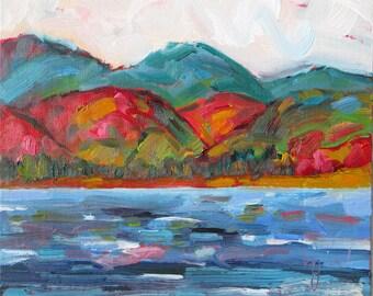 Landscape II, an 8 x 8 inch (20 x 20cm) framed oil painting. Landscape. Mountains. Sea. Montagne. Berg. Yvonne Wagner.