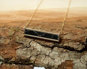 Howlite Black Bar Necklace, Simple Black Necklace Layering, Black Marble Necklace, Stone Bar Necklace, Black Pendant Bar