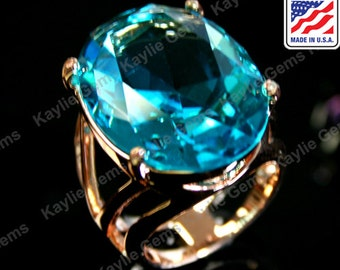 Big Over Sized Cocktail Statement Finger Ring Blue Topaz Glass Jewel Gem Sterling Silver Plated, Polished Brass, Rose Gold