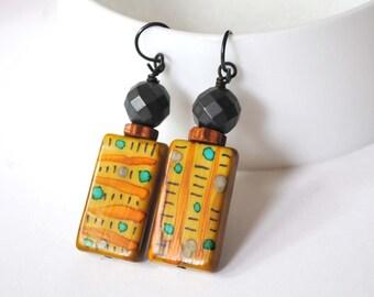 Geometric Earrings, Light Weight Earrings, Brown Earrings, Unique Hand Painted Earrings, Ethnic Earrings, Autumn Color Earrings