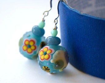 Blue Flower Earrings, Large Earrings, Glass Bead Earrings, Lampwork Glass Earrings, Daisy Earrings, Floral Earrings