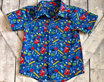 Boys Back To School Button Up Shirt- Oxford Button Up Shirt- Toddler Boys Shirt- 2 3 4 5 6 7 8 10 12 Years- School Pictures