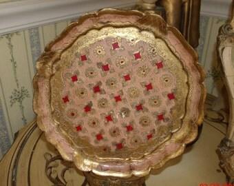 Vintage Hollywood Regency Italian Florentine Vanity Tray Tole Tray Old World Charm