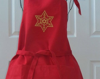 On Sale Red Apron with Star of David Embroidered in Gold Metallic Thread Apron was Purchased