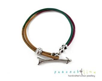 Keep Moving Forward - leather wrap bracelet with arrow clasp //colorful gypsy boho style wrap // bohemian multi strand bracelet // unisex