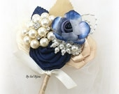 Boutonniere, Ivory, Navy Blue, Champagne, Gold, Elegant Wedding, Corsage, Groom, Button Hole,Pearls, Crystals, Floral, Vintage Style