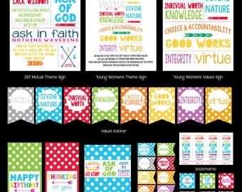 2017 Young Women Theme Printable Kit, LDS Mutual Theme, Ask in Faith, Young Women Values, Mormon, LDS Printables, Instant Download