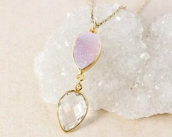 50% OFF Crystal Quartz and Pink Druzy Necklace – 14K Gold Filled