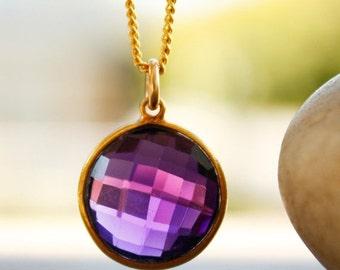 CLEARANCE SALE Gold Purple Amethyst Quartz Necklace - Simple Bezel - Birthstone Necklace, Royal Purple