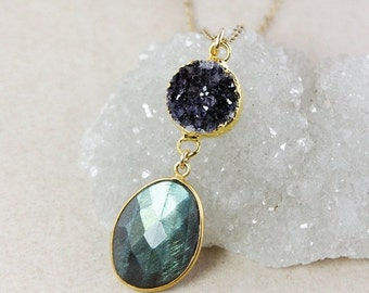 40 OFF SALE Druzy and Blue Labradorite Tiered Pendant Necklace – Choose Your Labradorite